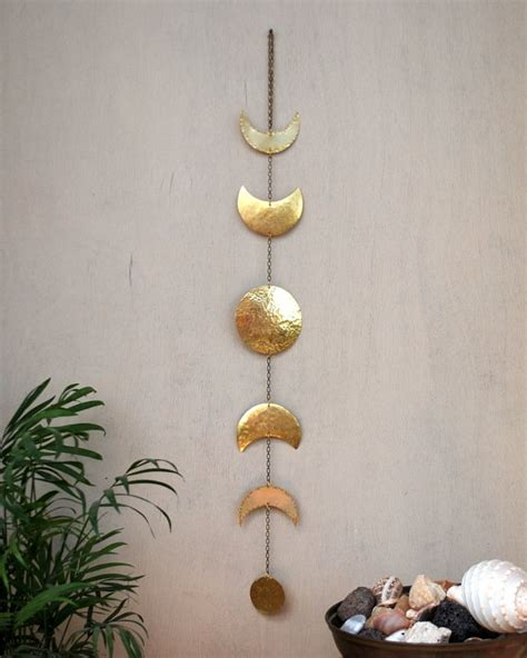 Moon Decor by Moon Phases Wall Hanging Brass Moon Wall Decor Moon Wall