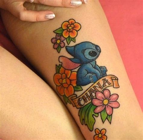 stitch ohana tattoo stitch flowers disney tattoos stitches