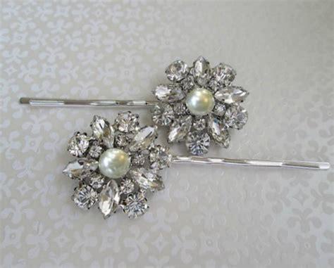 Flower Rhinestone Hair Pin ivory pearl hair pin wedding hair accessories bridal bobby