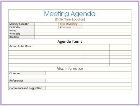meeting agenda template word 6 meeting agenda templates excel pdf formats