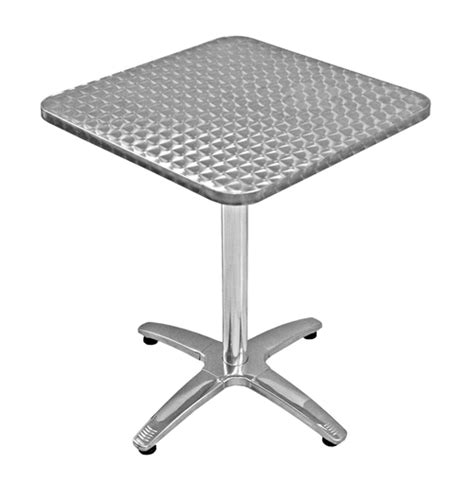 Commercial Patio Tables And Chairs 24 Quot Square Table Height Commercial Outdoor Aluminum Table Base And Stainless Steel Table Top Set