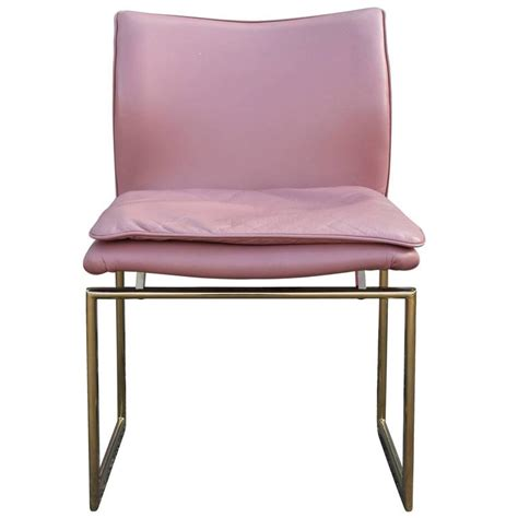 Pink Dining Chairs Modern Set Of Six Brass And Pink Leather Dining Chairs At 1stdibs