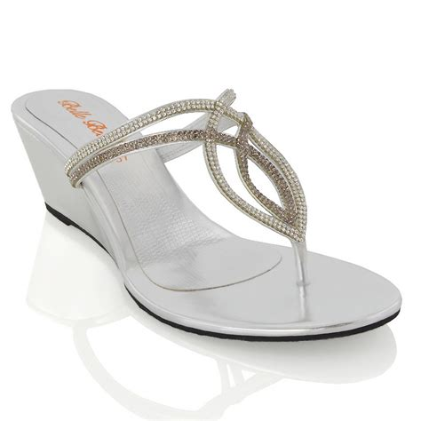 sparkly heeled sandals womens wedge heel t bar diamante sparkly toe post