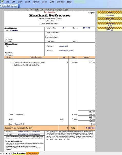 tax invoice template excel tax invoice excel template tax invoice