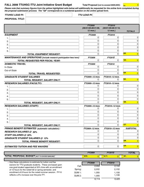 grant budget template research budget