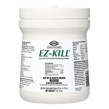 clorox healthcare ez kill quat alcohol cleaner disinfectant wipes unscented     wipes