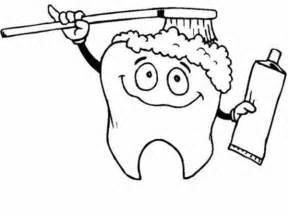 tooth coloring pages tooth brushing himself in dental health coloring page