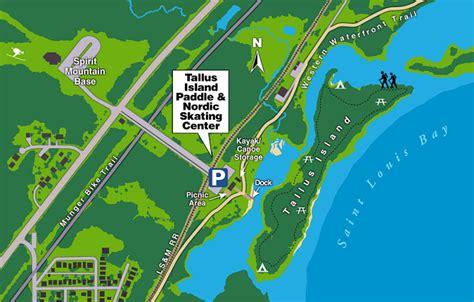 duluth city kayak bay trail map illustration