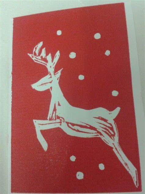 Lino Cut Cards by Card Linocut Deer Pole