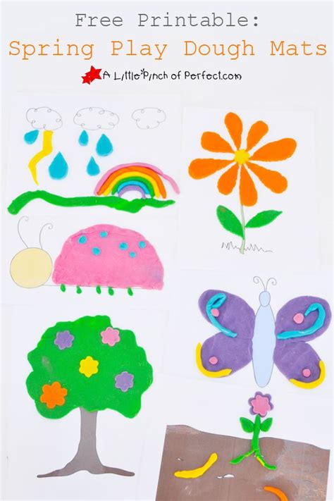 Spring Printable Playdough Mats | free printable spring play dough mats bugs weather