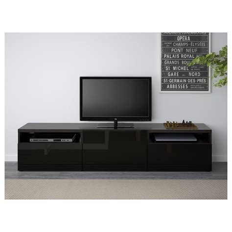 ikea tv bench besta best 197 tv bench black brown selsviken high gloss black