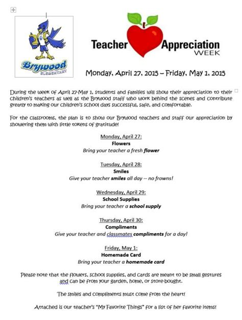 appreciation letter to parents from room appreciation week schedule yahoo image search