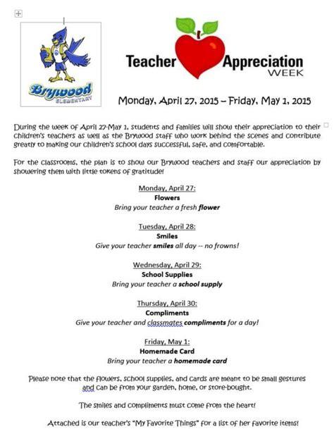 appreciation week sle letter to parents appreciation week schedule yahoo image search