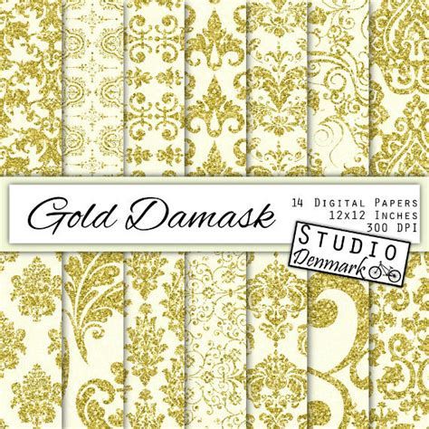 gold patterned digital paper gold damask digital paper gold glitter patterned paper