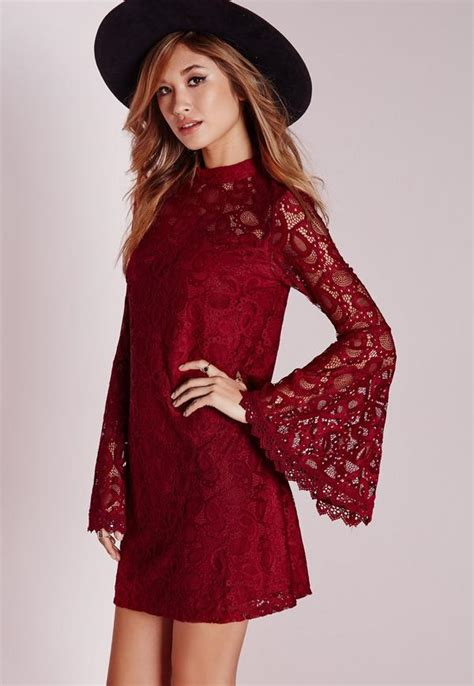 Bell Sleeve Lace Dress bell sleeve lace swing dress missguided