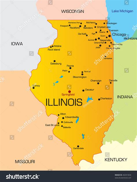 map of illinois mapquest vector color map illinois state usa stock vector 40291834