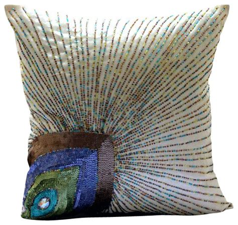 silk peacock home decor peacock feather ivory art silk decorative pillow covers
