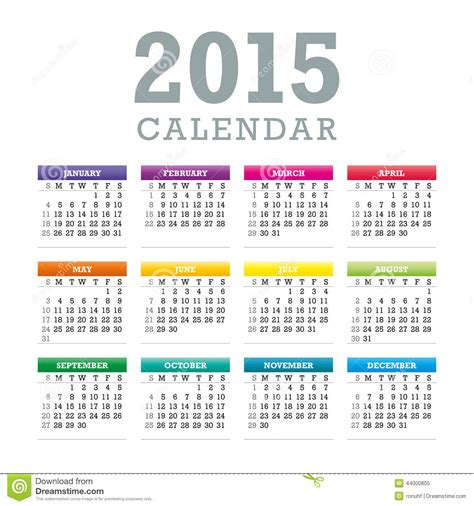 printable calendar 2015 monday start 2015 calendar week starts with sunday vector graphic