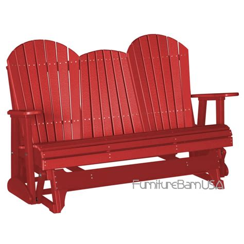 porch glider bench poly outdoor 5 foot adirondack porch glider bench red