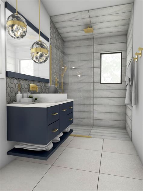navy blue floating vanity  brass accents  modern