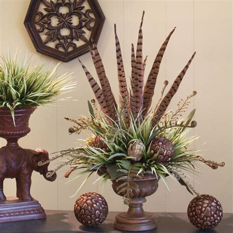 fall centerpieces with feathers pheasant feather arrangement for the home pinterest