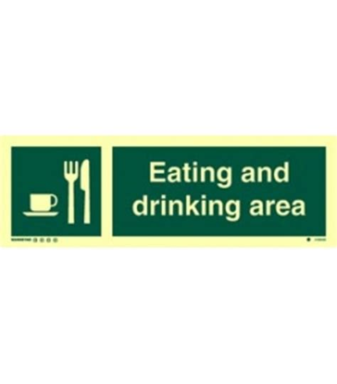 eating area safety signs photoluminescent rigid pvc hospital symbol