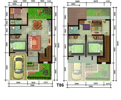 denah rumah minimalis modern 2 lantai type 45 90 100 the knownledge