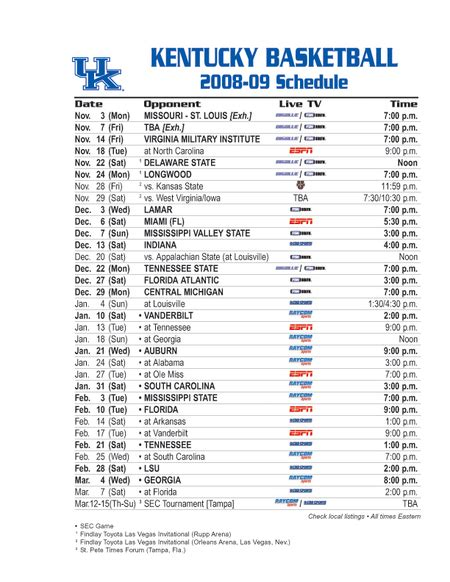 uk basketball schedule spread image gallery kentucky basketball schedule