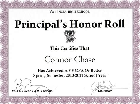honor roll certificates template 7 best images of honor roll certificate wording honor
