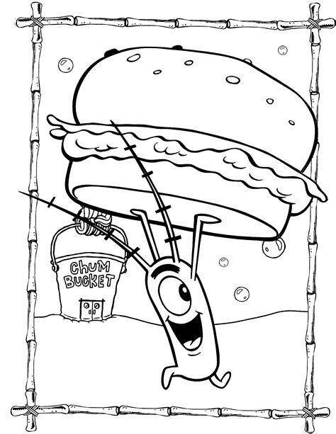 spongebob coloring pages plankton  krabby patty