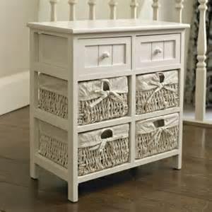 White Storage Unit With Baskets White Storage Unit 4 Baskets 2 Drawers White Wicker