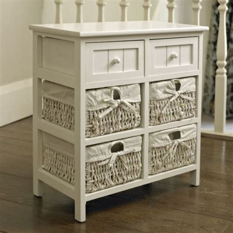 White Wicker Storage Drawers by White Storage Unit 4 Baskets 2 Drawers White Wicker