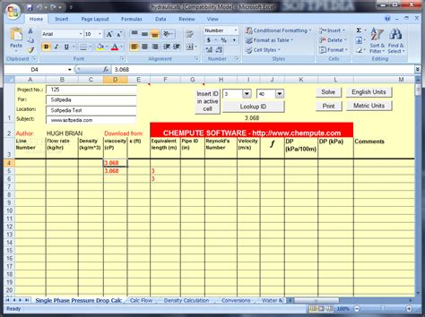 free hydraulic calculator for excel