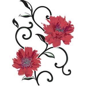 spirit red flowers wall art decals walmart com wall sticker home decor wall art butterfly decoration