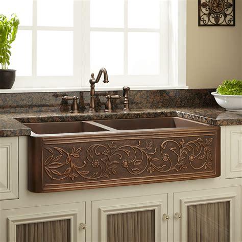 Farm Sinks Kitchen by 33 Quot Vine Design 60 40 Offset Bowl Copper Farmhouse