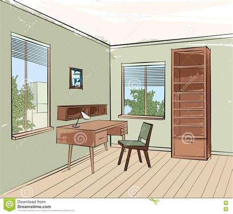 Home Interior Work Home Interior Work Place Furniture Living Room Sketch Stock Illustration Image 73299787