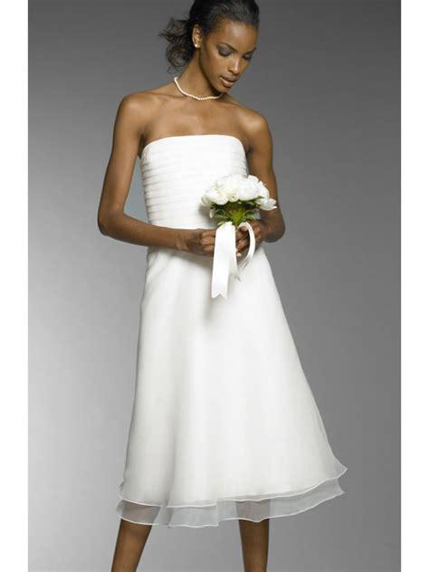 Hochzeitskleider Knielang Schlicht by Simple Column Wedding Dress Tea Length In White Chiffon