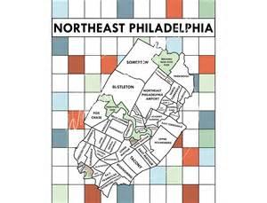 philadelphia neighborhood poster map black and white