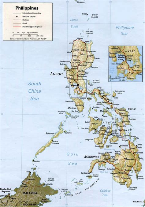 map usa to philippines large detailed relief and road map of philippines