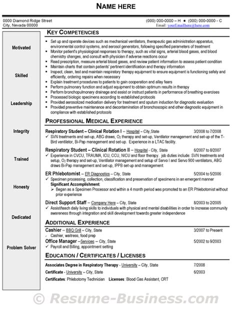 respiratory therapy resume sles resume sle resume and career on