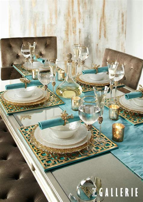 dining room table setting ideas turquoise gold dining tablescape colour aqua