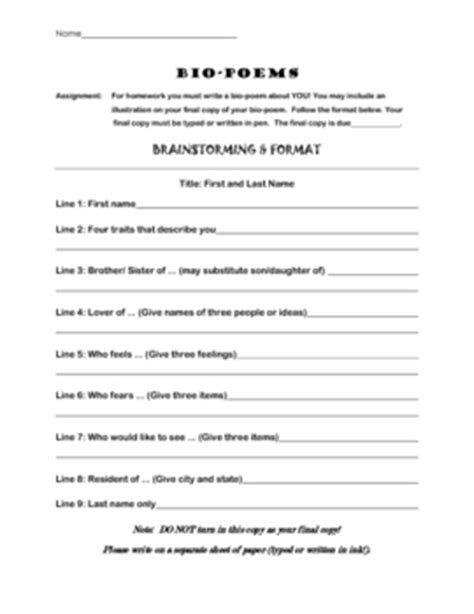 biography list for high school students bio poem template use for students or characters by