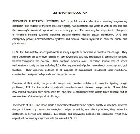 Electrical Business Introduction Letter how to write company introduction letter sle cover