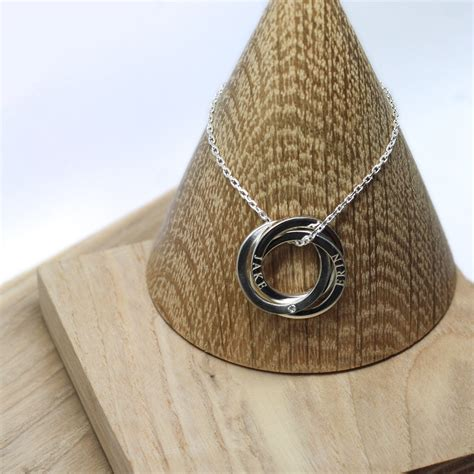 handmade sterling silver personalised halo necklace