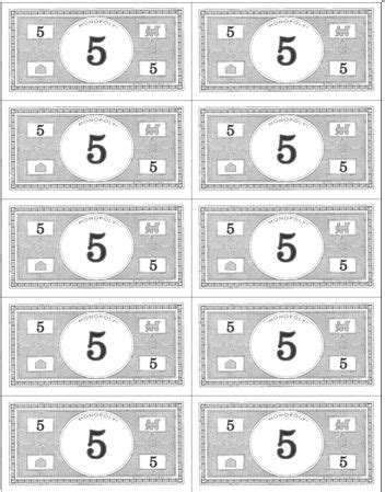image result  monopoly money printable play money