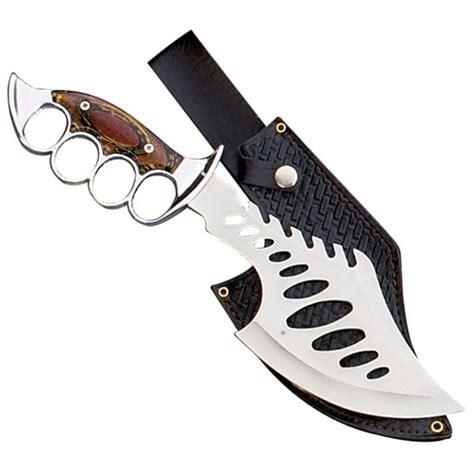 big blade bowie knuckle knife with sheath