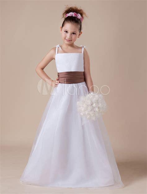 Gaun Dress White Graffiti Flower S Import Original white flower dress straps sash tulle satin dress milanoo
