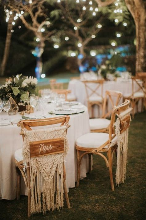 boho chic macrame wedding chair decoration ideas