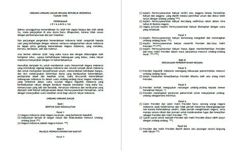 Undang Undang Dasar 1945 Hasil Amandemen Ke 4 teks uud 1945 undang undang dasar negara republik