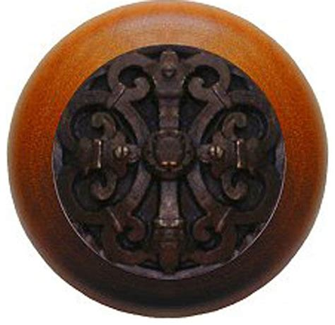 Cherry Wood Cabinet Knobs by Chateau Cherry Wood Knob Brass Traditional